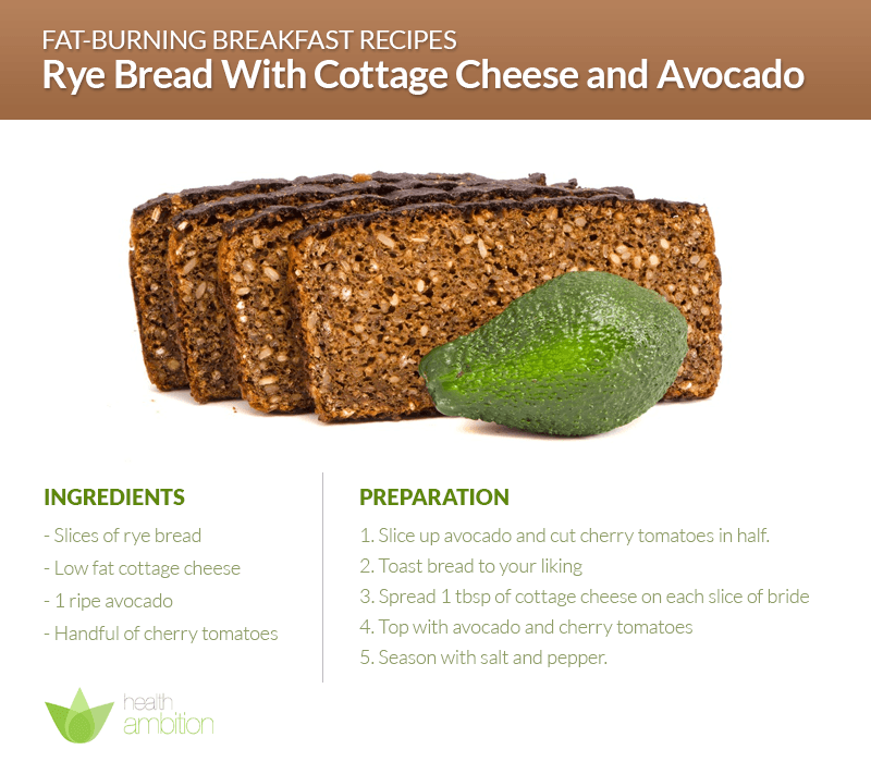 fat burning breakfast rye bread with cottage cheese and avocado