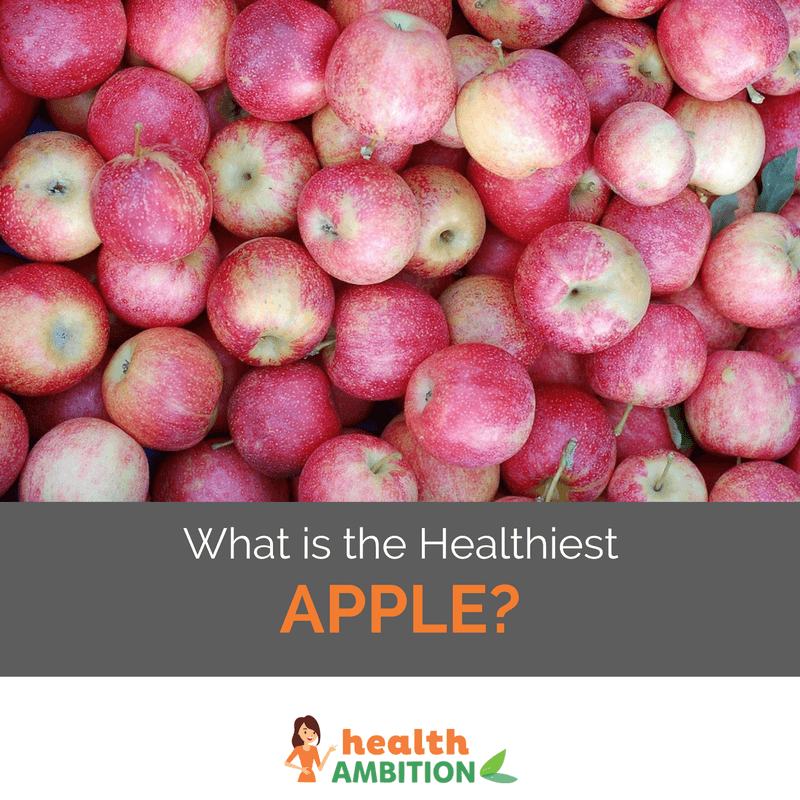 """Dozens of red apples with the caption """"What is The Healthiest Apple?"""""""