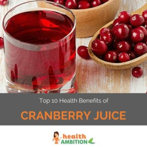 """A glass of cranberry juice with a spoonful of cranberries with the title """"Top 10 Health Benefits of Cranberry Juice."""""""