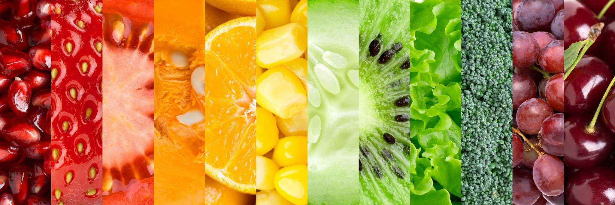 Multiple fruit and vegetable cross-sections in a stylish image.