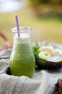 A bottle of green juice.