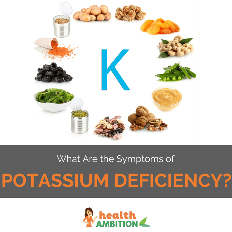 """The letter K surrounded by potassium-rich foods with the title """"What Are the Symptoms of Potassium Deficiency?"""""""
