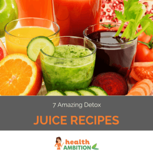 """Glasses of various juices surrounded by fruit and vegetables with the title """"7 Amazing Detox Juice Recipes."""""""