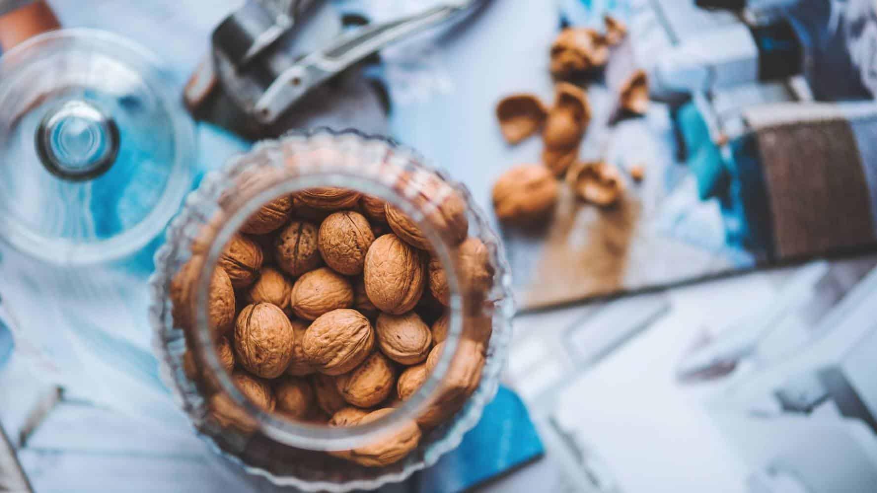 A glass of walnuts.