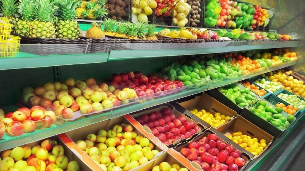 Fruits at a supermarket fruit aisle.
