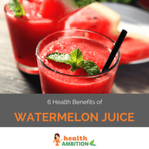 """Glasses of watermelon juice decorated with a mint leaf with the title """"6 Health Benefits of Watermelon Juice"""""""