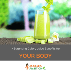 """A glass of celery juice next to celery pieces with the title """"7 Surprising Celery Juice Benefits for Your Body."""""""