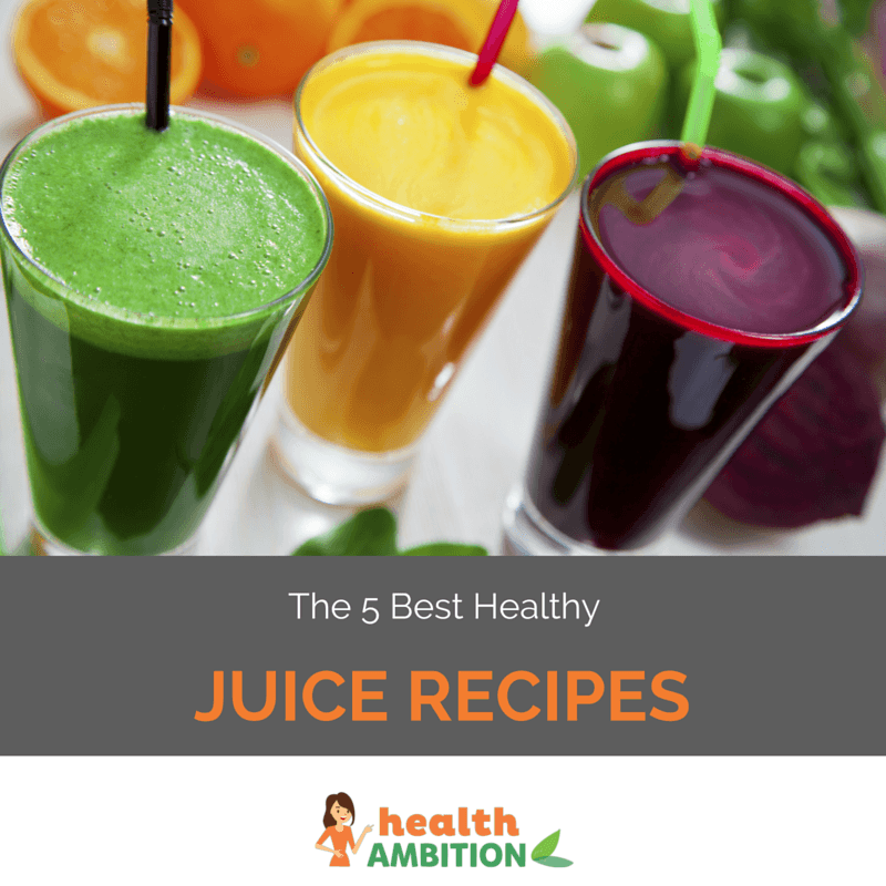"""Glasses of fruit and vegetable juice with the title """"The 5 Best Healthy Juice Recipes."""""""