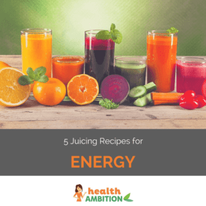 """Glasses of various colored juices with the title """"5 Juicing Recipes for Energy."""""""