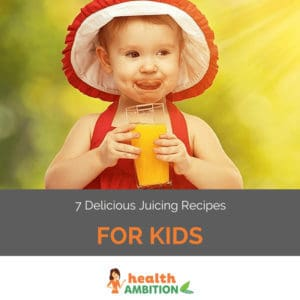 """A young child enjoying fresh juice in the sunshine with the title """"7 Delicious Juicing Recipes for Kids."""""""