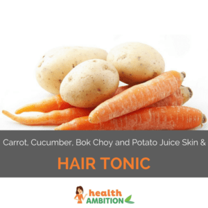 """Three potatos on four carrots with the title """"Carrot, Cucumber, Bok Choy and Potato Juice Skin and Hair Tonic."""""""