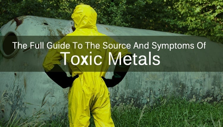 """A person in a hazmat suit looking at a container with the title """"The Full Guide To The Source And Symptoms Of Toxic Metals."""""""