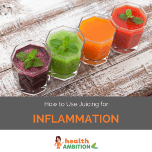 """Glasses of vegetable and fruit juice with the title """"How to Use Juicing for Inflammation"""""""