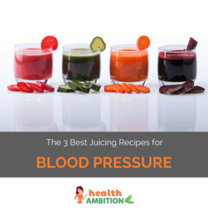 """Glasses of vegetable juice with the title """"The 3 Best Juicing Recipes for Blood Pressure"""""""