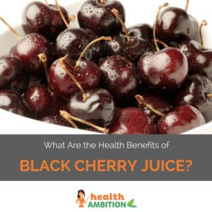 """A bowl of cherries with the title """"What Are the Health Benefits of Black Cherry Juice?"""""""