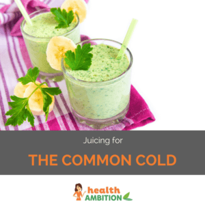 """A glass of green juice with the title """"Juicing for the common cold"""""""