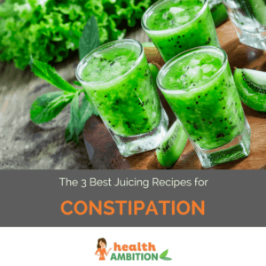 """Glasses of green juice with the title """"The 3 Best Juicing Recipes for Constipation"""""""