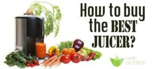 """A juicer with vegetables with the title """"How to buy the Best juicer?"""""""