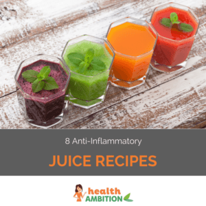 """Glasse sof juices with the title """"8 Anti-Inflammatory Juice Recipes"""""""